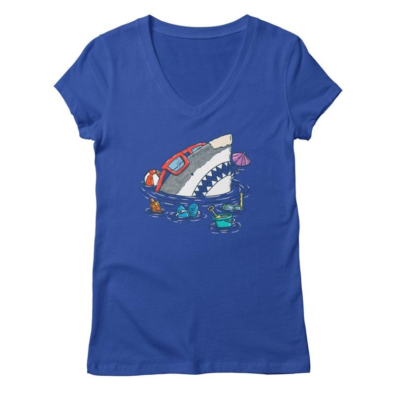 Beach Party Shark Women's Regular V-Neck by nickv47