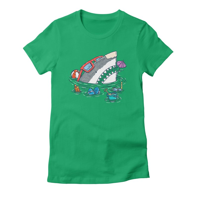 Beach Party Shark Women's Fitted T-Shirt by nickv47