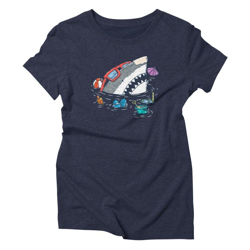 Beach Party Shark Women's Triblend T-Shirt by nickv47