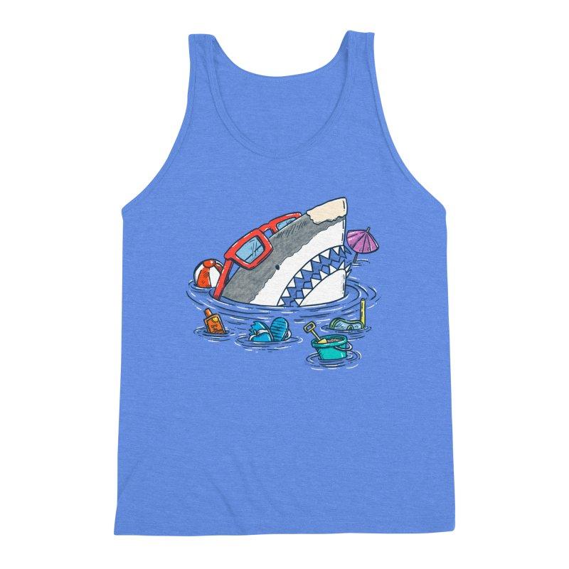 Beach Party Shark Men's Triblend Tank by nickv47