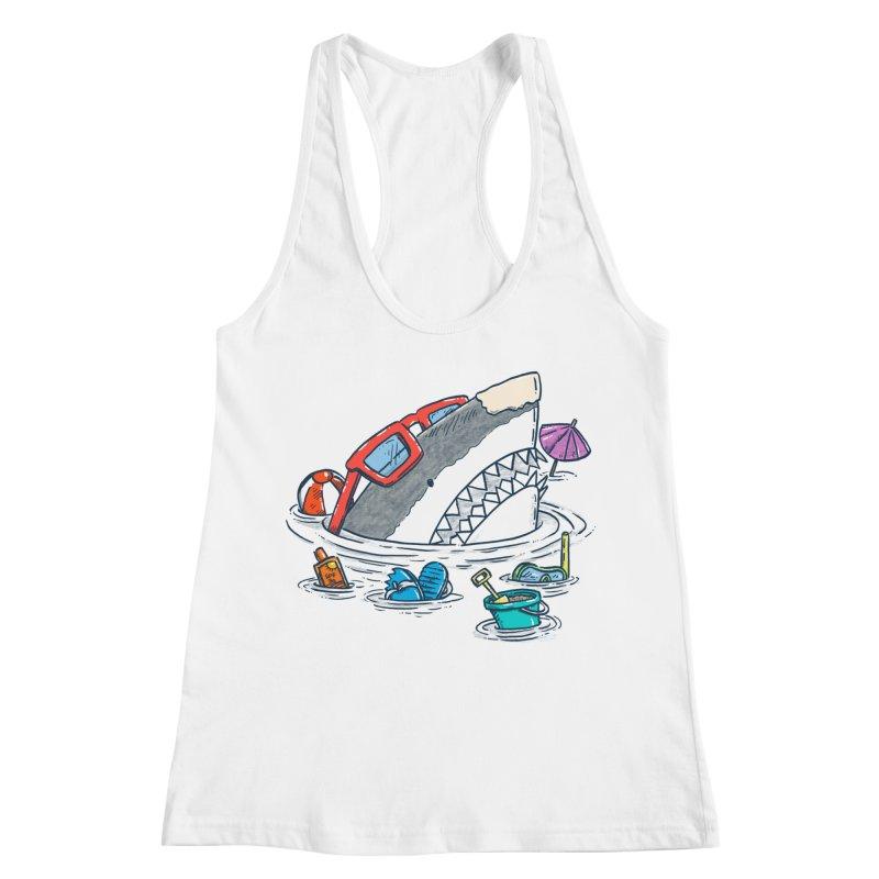 Beach Party Shark Women's Racerback Tank by nickv47