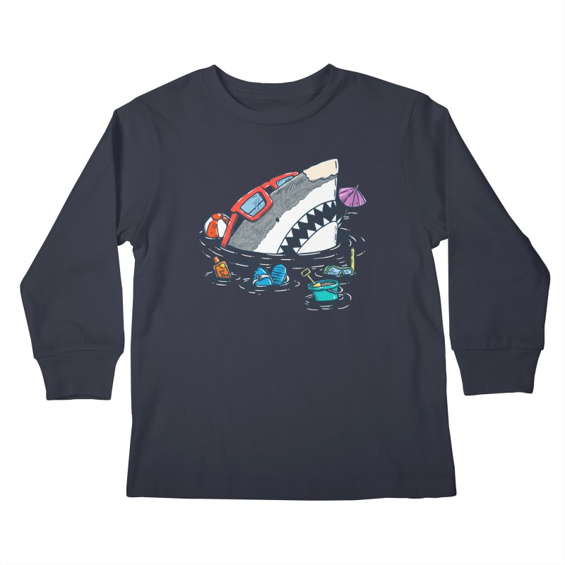 Beach Party Shark Kids Longsleeve T-Shirt by nickv47