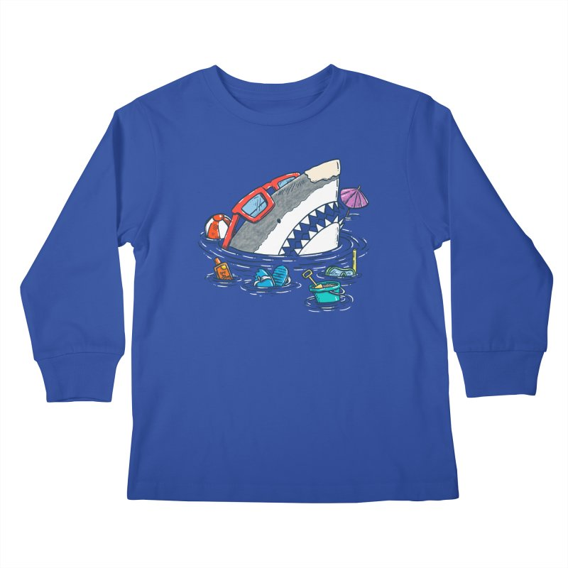 Beach Party Shark Kids Longsleeve T-Shirt by nickv47