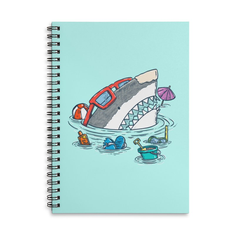 Beach Party Shark Accessories Lined Spiral Notebook by nickv47