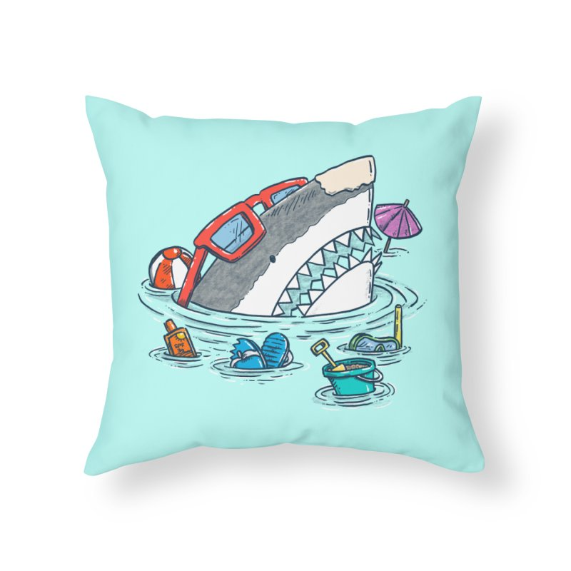 Beach Party Shark Home Throw Pillow by nickv47