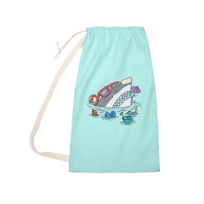 Beach Party Shark Accessories Laundry Bag Bag by nickv47