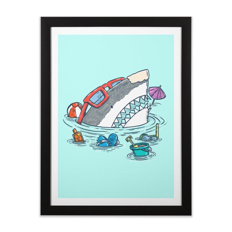 Beach Party Shark Home Framed Fine Art Print by nickv47