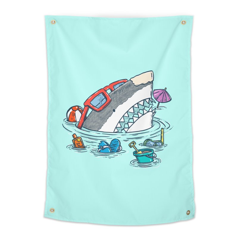 Beach Party Shark Home Tapestry by nickv47