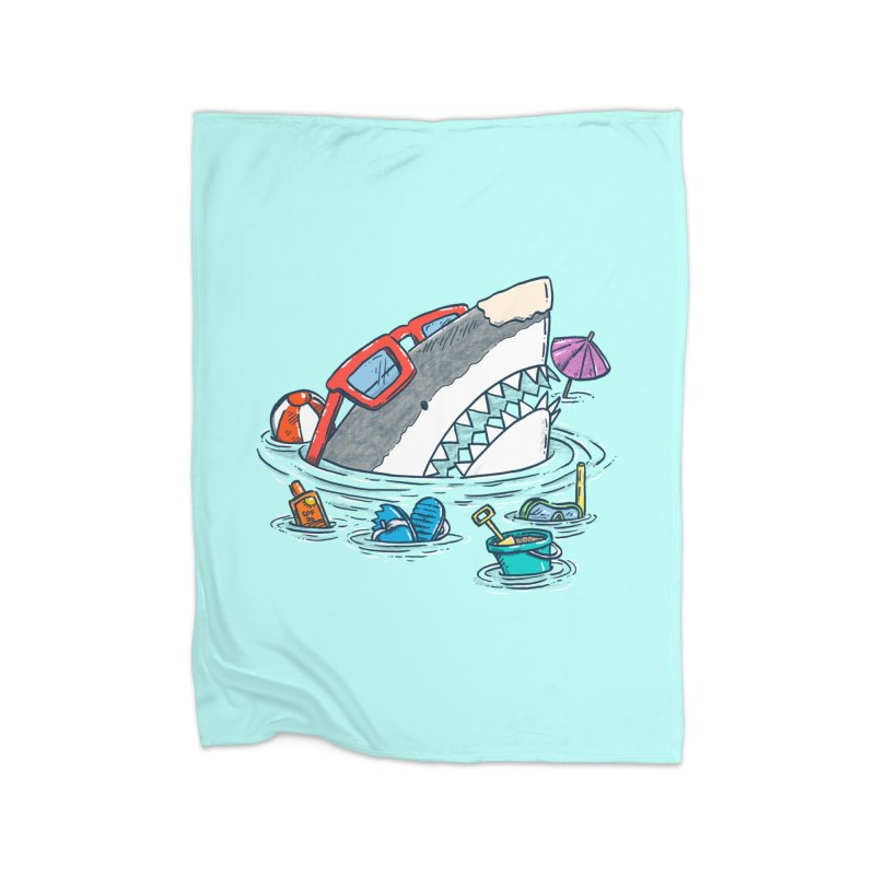 Beach Party Shark Home Fleece Blanket Blanket by nickv47