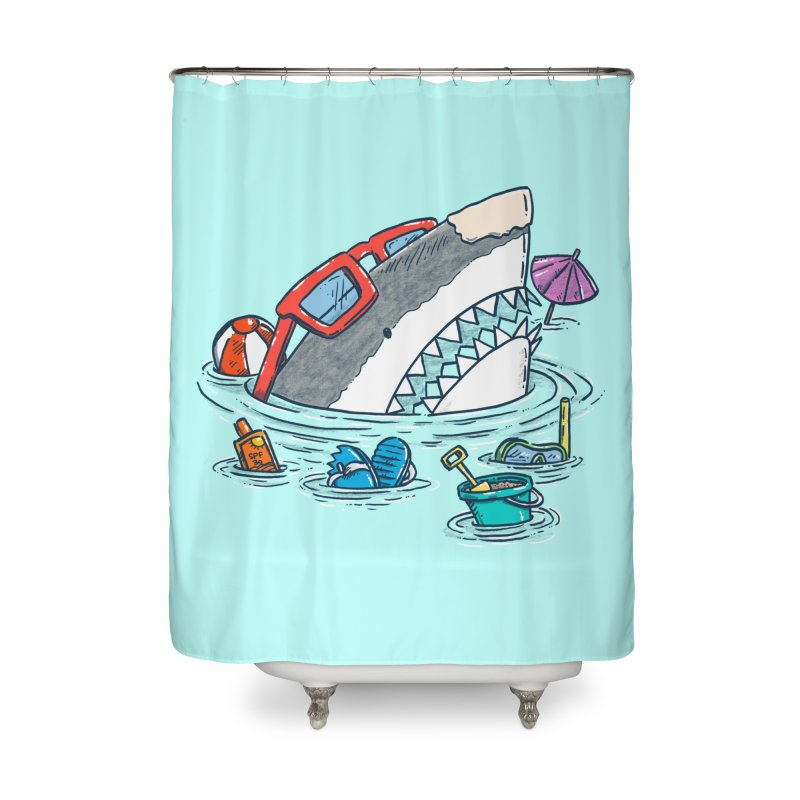 Beach Party Shark Home Shower Curtain by nickv47