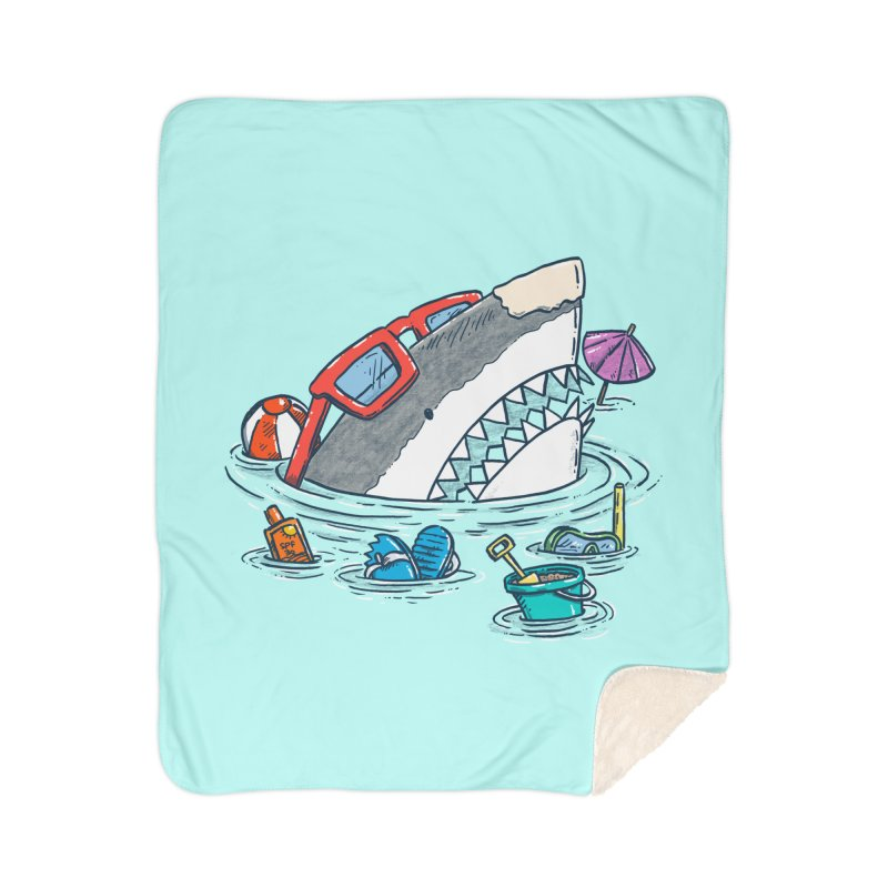 Beach Party Shark Home Sherpa Blanket Blanket by nickv47