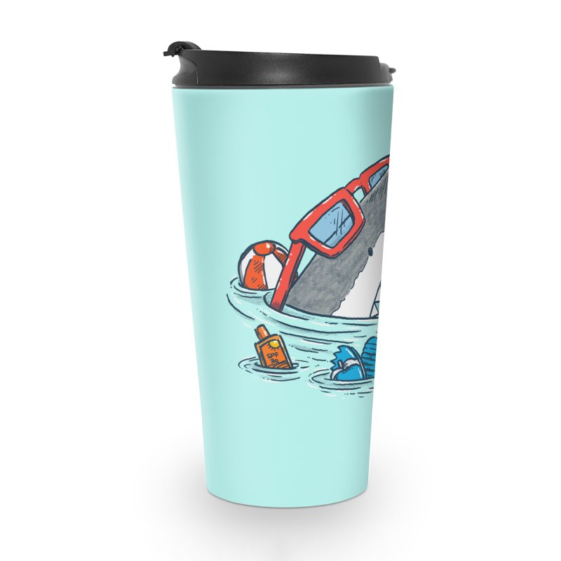 Beach Party Shark Accessories Travel Mug by nickv47