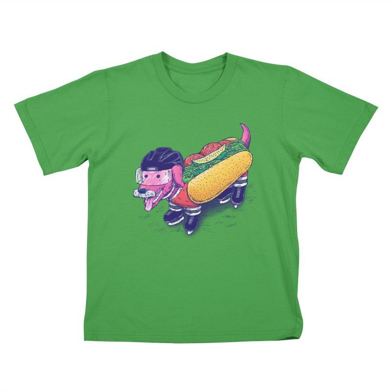 Chicago Hockey Dog Kids T-Shirt by nickv47