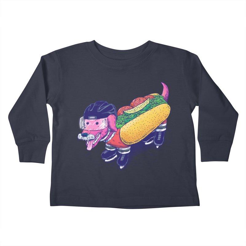 Chicago Hockey Dog Kids Toddler Longsleeve T-Shirt by nickv47