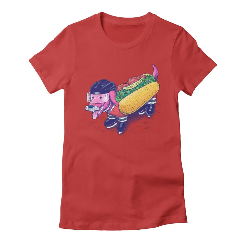 Chicago Hockey Dog Women's Fitted T-Shirt by nickv47