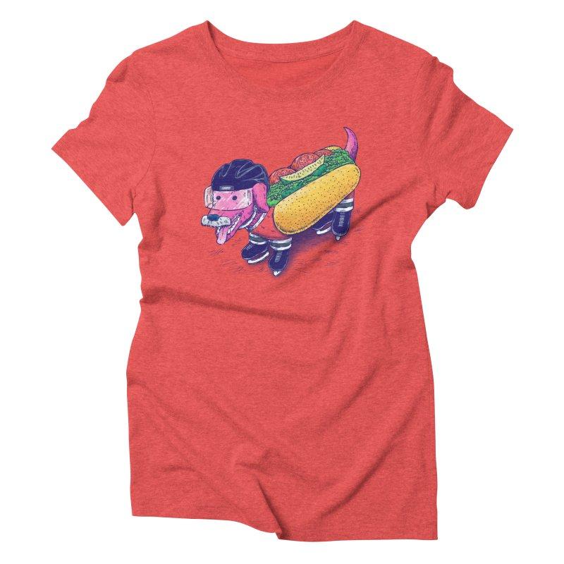 Chicago Hockey Dog Women's Triblend T-Shirt by nickv47