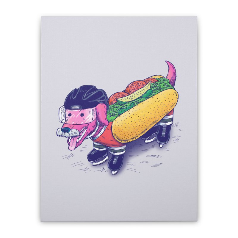 Chicago Hockey Dog Home Stretched Canvas by nickv47