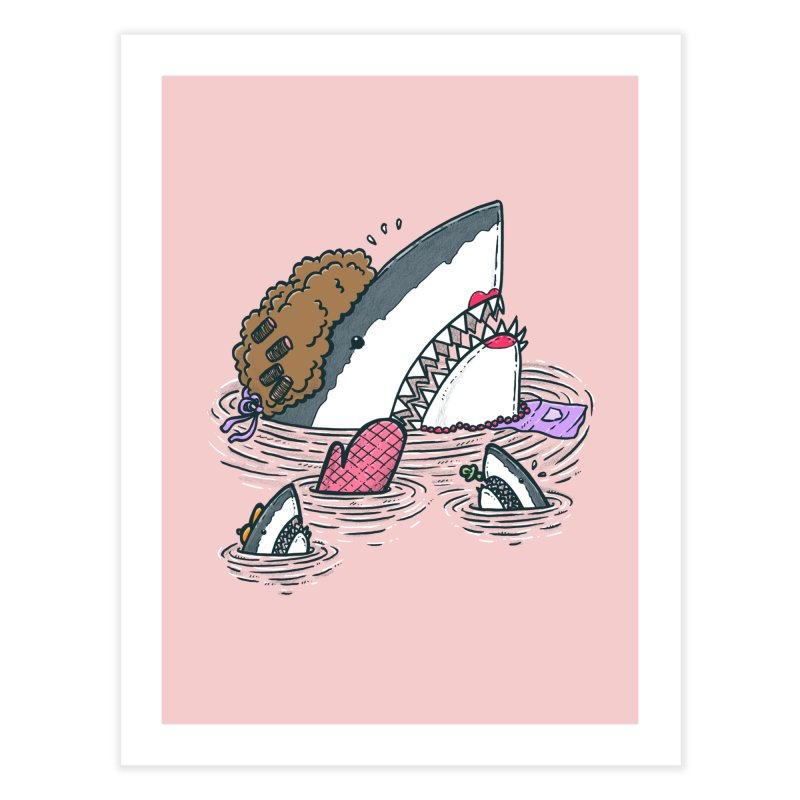 The Mom Shark Home Fine Art Print by nickv47