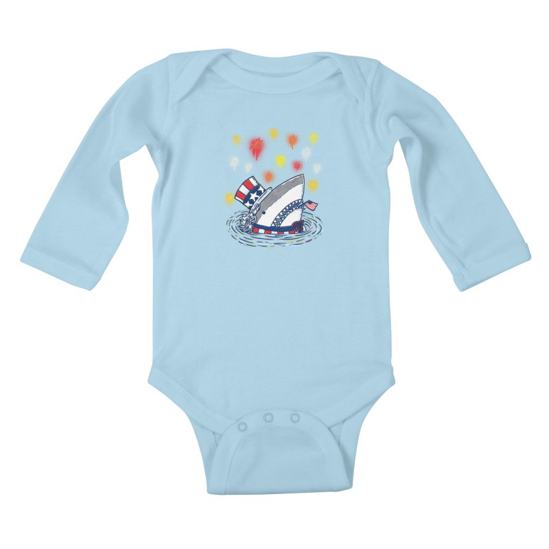 The Patriotic Shark Kids Baby Longsleeve Bodysuit by nickv47