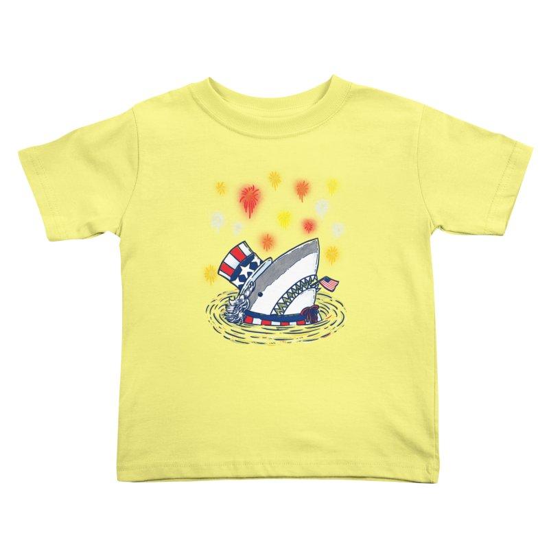 The Patriotic Shark Kids Toddler T-Shirt by nickv47
