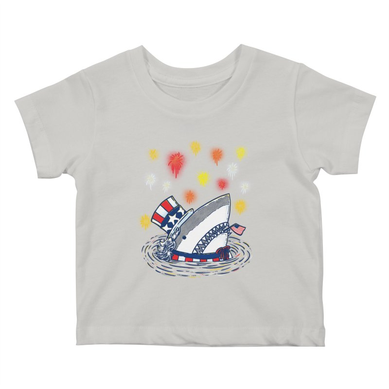 The Patriotic Shark Kids Baby T-Shirt by nickv47