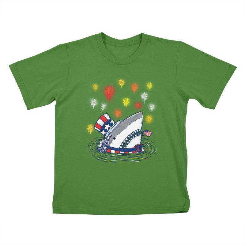The Patriotic Shark Kids T-Shirt by nickv47