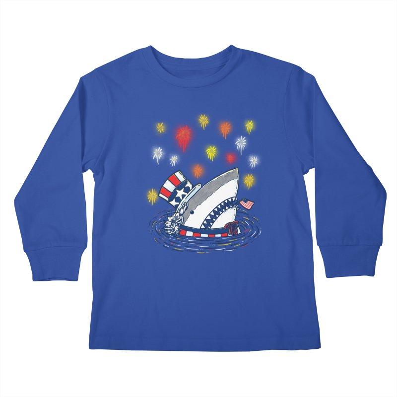 The Patriotic Shark Kids Longsleeve T-Shirt by nickv47