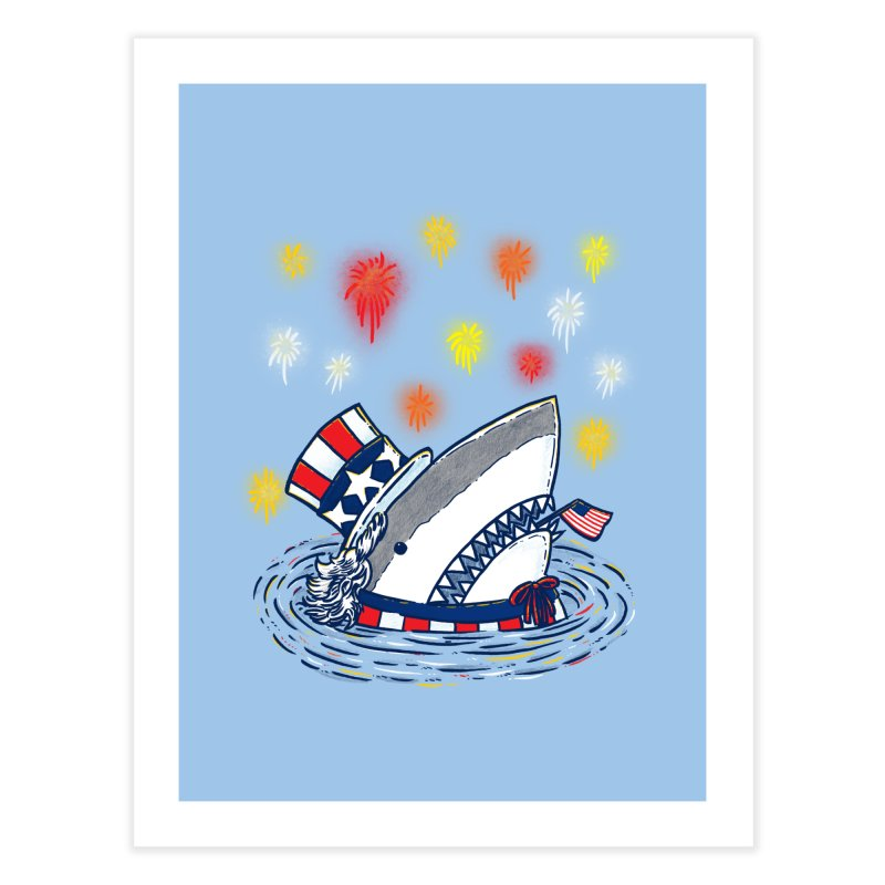 The Patriotic Shark Home Fine Art Print by nickv47