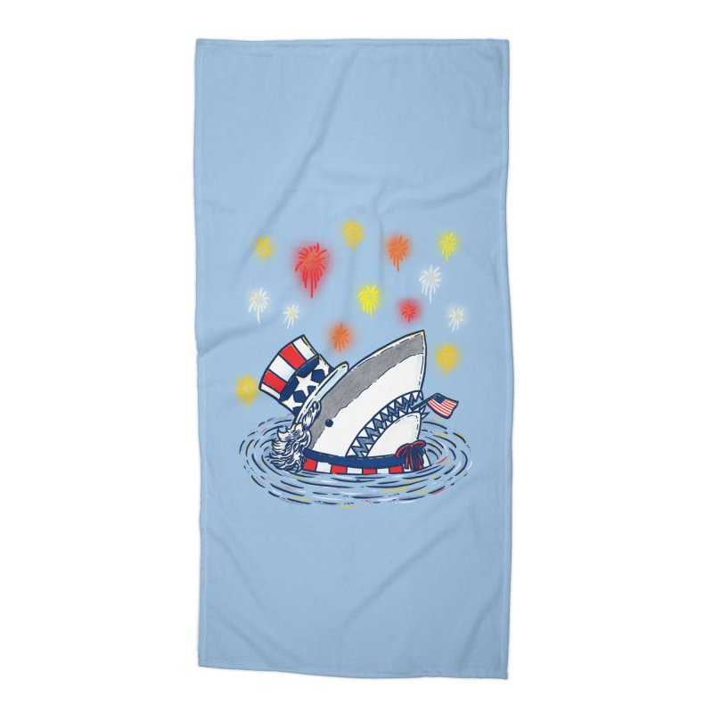 The Patriotic Shark Accessories Beach Towel by nickv47