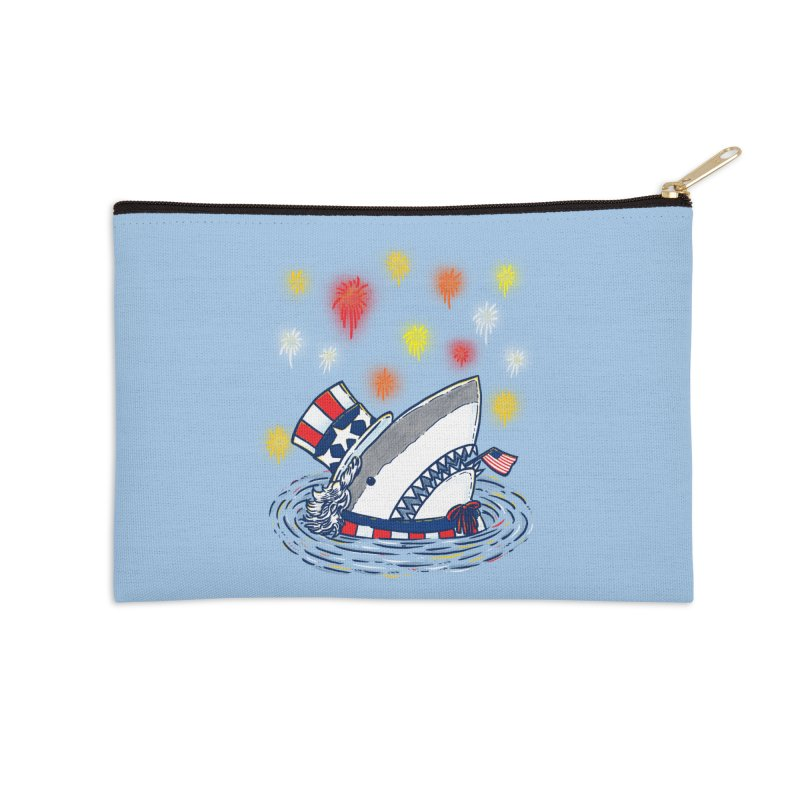The Patriotic Shark Accessories Zip Pouch by nickv47