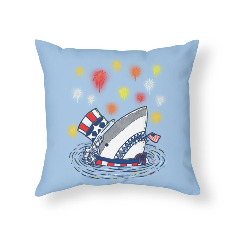 The Patriotic Shark Home Throw Pillow by nickv47