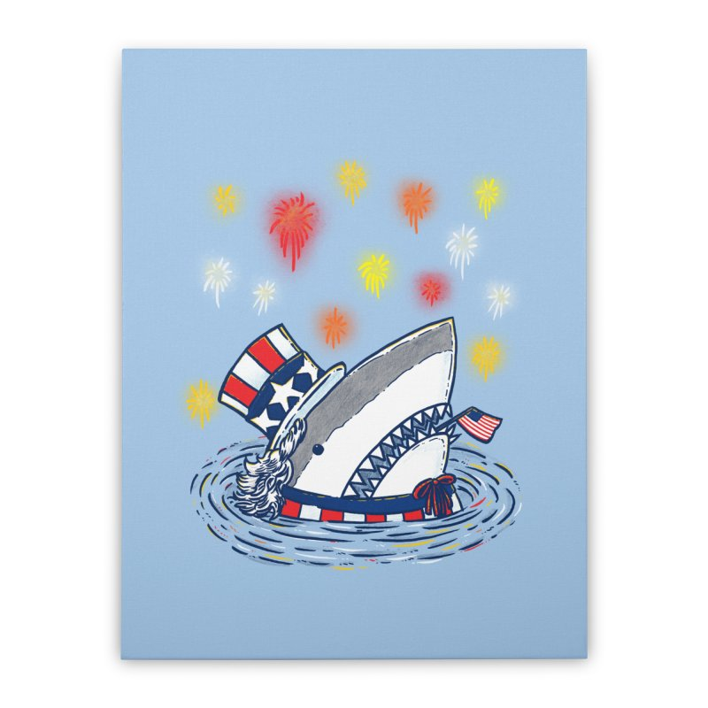 The Patriotic Shark Home Stretched Canvas by nickv47