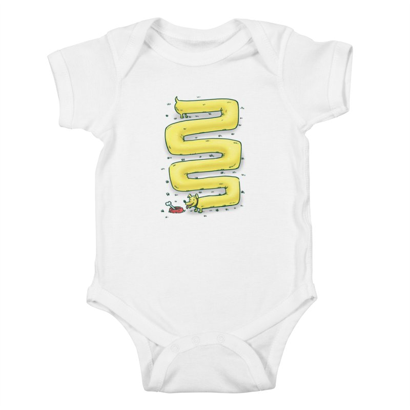 Infinite Wiener Dog Kids Baby Bodysuit by nickv47