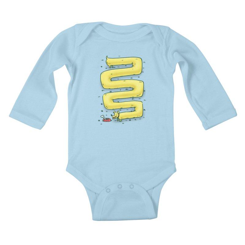 Infinite Wiener Dog Kids Baby Longsleeve Bodysuit by nickv47