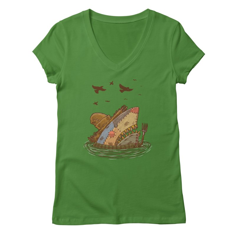 The Scarecrow Shark Women's V-Neck by nickv47