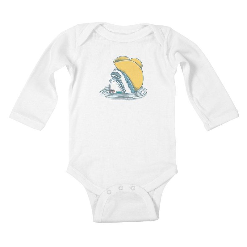 The Funny Hat Shark Kids Baby Longsleeve Bodysuit by nickv47
