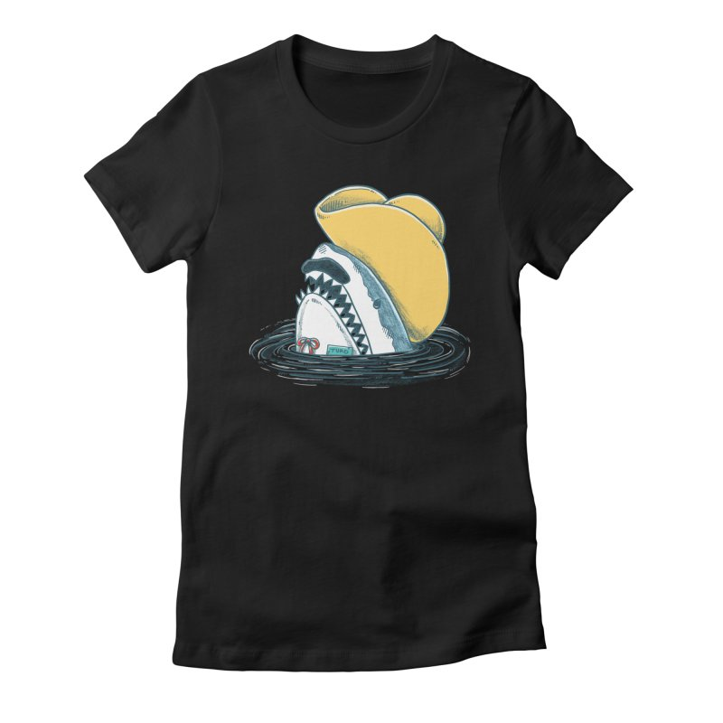 The Funny Hat Shark Women's Fitted T-Shirt by nickv47