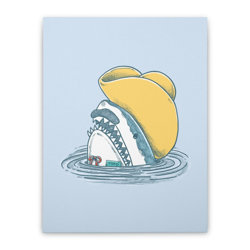 The Funny Hat Shark Home Stretched Canvas by nickv47