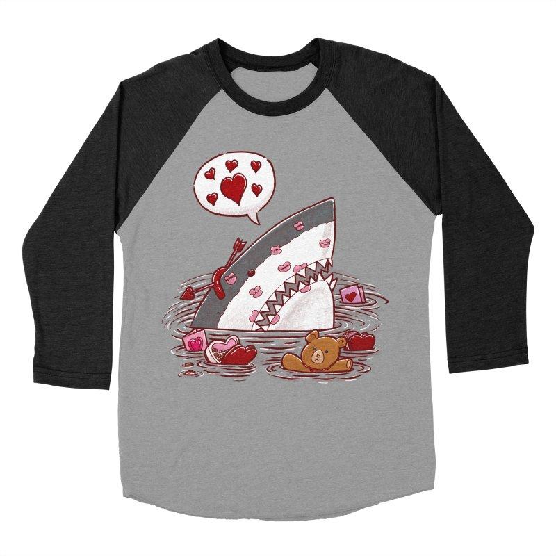 Valentines Day Shark Women's Baseball Triblend T-Shirt by nickv47
