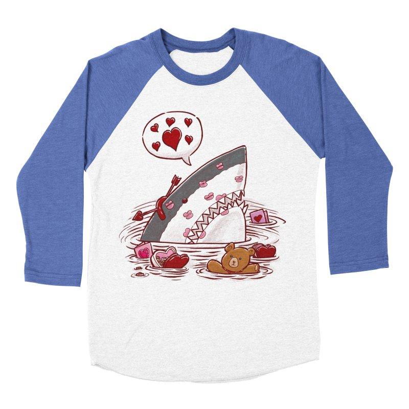 Valentines Day Shark Men's Baseball Triblend T-Shirt by nickv47