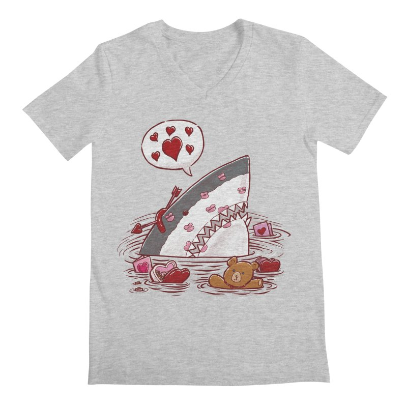 Valentines Day Shark Men's V-Neck by nickv47