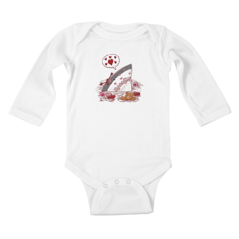 Valentines Day Shark Kids Baby Longsleeve Bodysuit by nickv47
