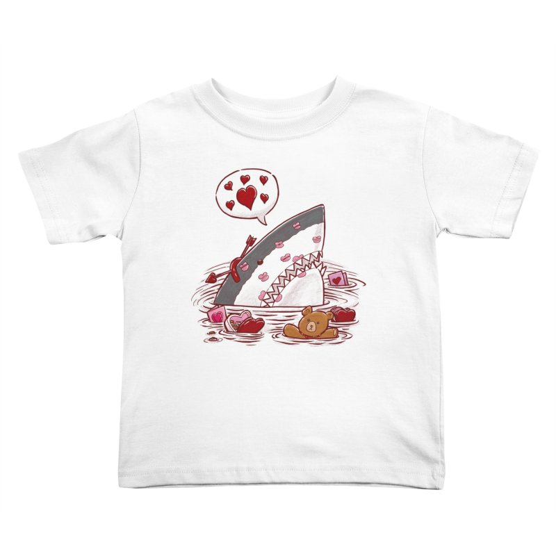 Valentines Day Shark Kids Toddler T-Shirt by nickv47