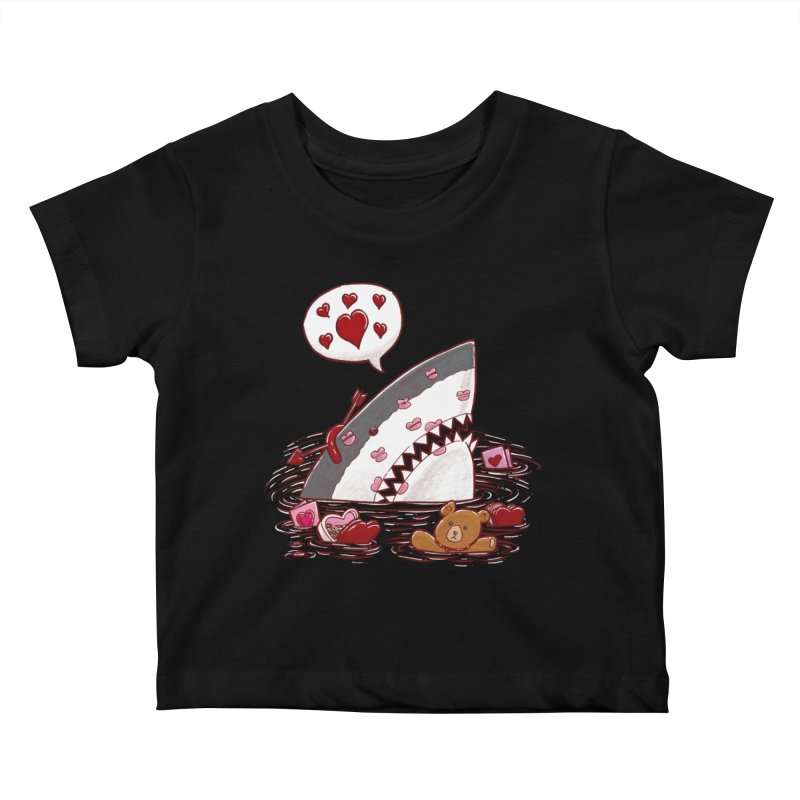 Valentines Day Shark Kids Baby T-Shirt by nickv47