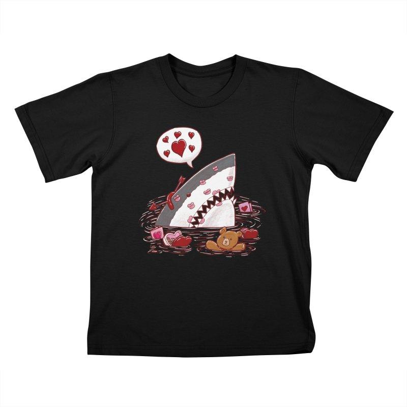 Valentines Day Shark Kids T-shirt by nickv47