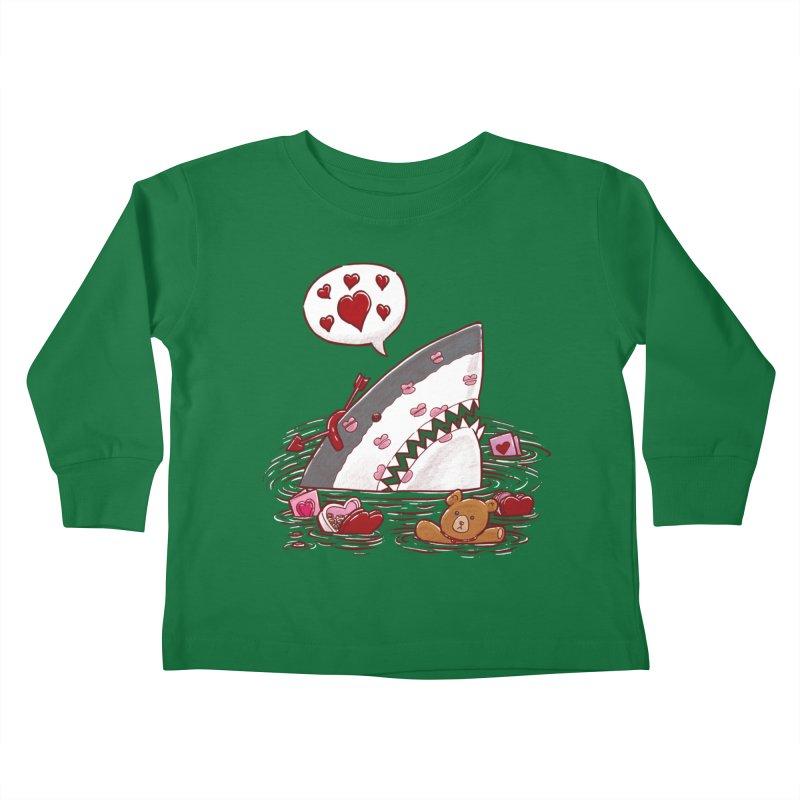 Valentines Day Shark Kids Toddler Longsleeve T-Shirt by nickv47