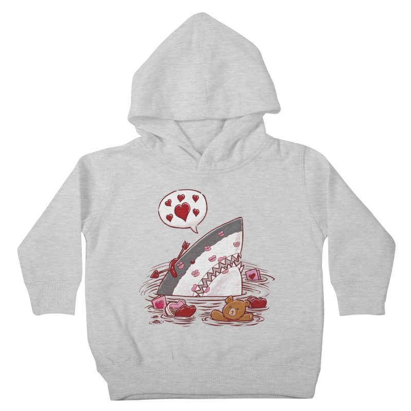 Valentines Day Shark Kids Toddler Pullover Hoody by nickv47