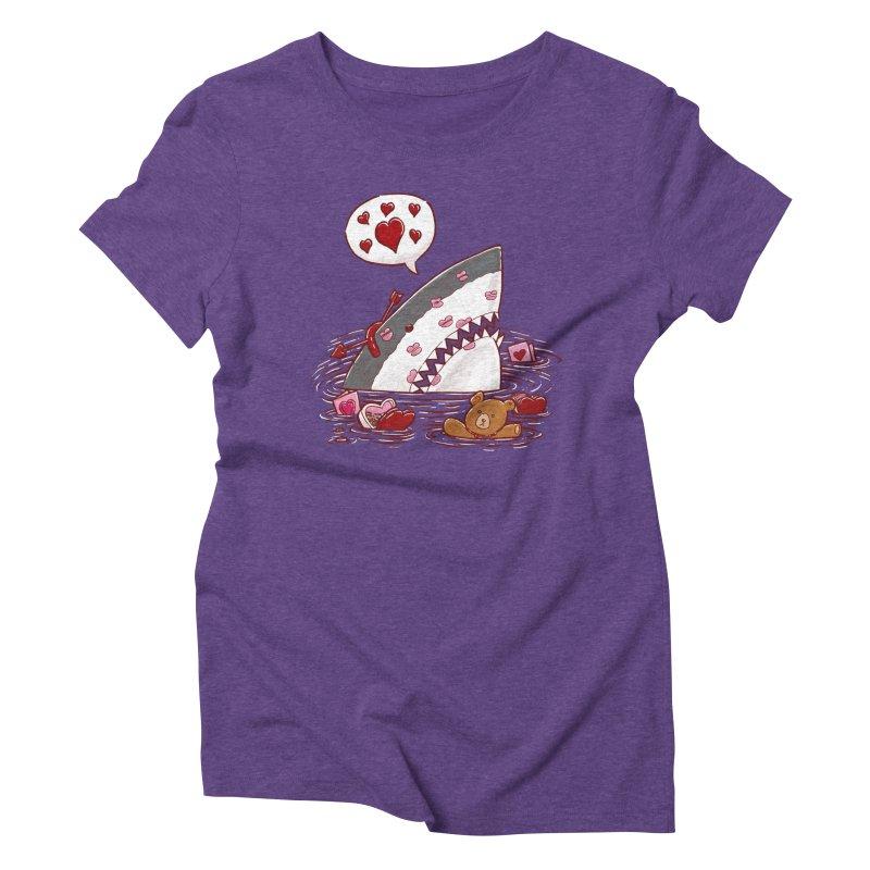 Valentines Day Shark Women's Triblend T-shirt by nickv47