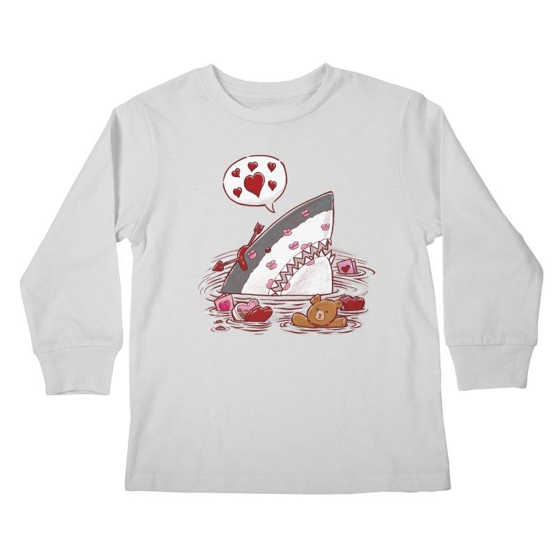 Valentines Day Shark Kids Longsleeve T-Shirt by nickv47