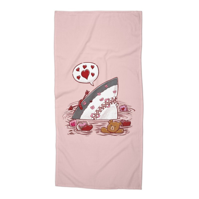 Valentines Day Shark Accessories Beach Towel by nickv47